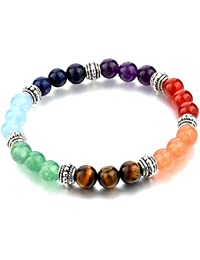 "Hot and Bold ""Certified"" Natural Gem/Semi Precious Stones & 7 Chakra Bracelet. Daily/Party/Office/Casual Wear Fashion Healing, Reiki Crystal Jewellery for Men/Women/Boys/Girls."