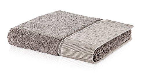 Möve Brooklyn Handtuch Uni mit Fischgratbordüre 50 x 100 cm aus 85% Baumwolle/10% Viskose aus Bambus-Zellstoff/5% Leinen, Cashmere (Hahnentritt-bad)