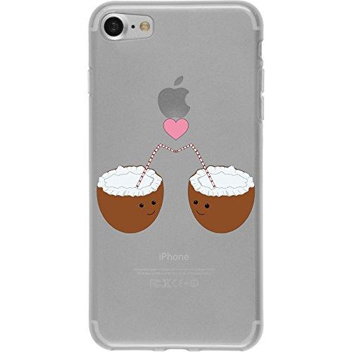 PhoneNatic Case für Apple iPhone 7 Silikon-Hülle Sommer Coconuts M3 Case iPhone 7 Tasche + 2 Schutzfolien Motiv 3: Coconuts