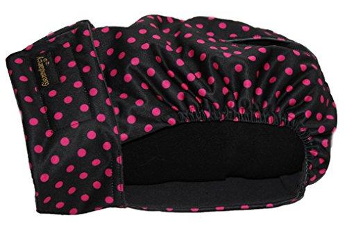 Pañal abrigado para perra, todas las tallas, con compresas lavables opcionales, color negro con lunares rosas