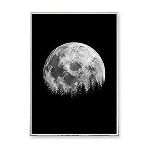 DIN A4 Kunstdruck Poster FOREST AT NIGHT -ungerahmt- Wald, Bäume, Nacht, Vollmond, Landschaft, skandinavisch, nordisch
