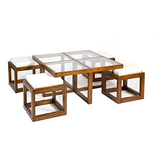 COLONIAL CHIC Mesa centro con 4 taburetes: Amazon.es: Hogar