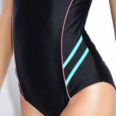 iBaste Sportiva Professionale Capestro Colore di Collisione Stretto Alta Elasticità Asciugatura Veloce Costume da Bagno un Pezzo Azzurro
