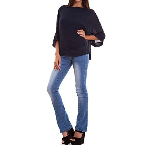 Toocool - Maglia donna maxi ampia velata maniche 3/4 maglietta elegante nuova AS-2304 Blu