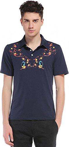 Sportides Herren Casual Dots Lapel Printing Short Sleeve Polo Shirt T_Shirt Tops JZA074 JZA082_Navy