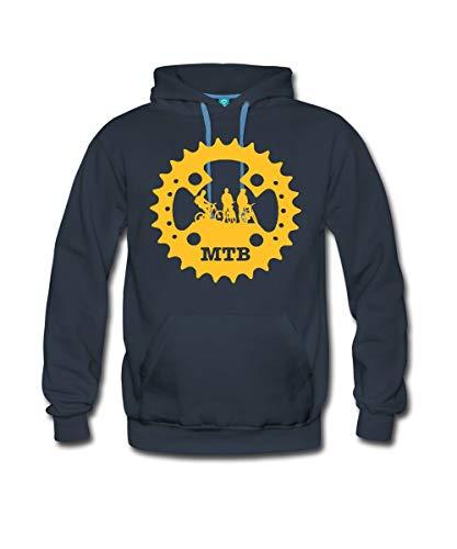 Spreadshirt Mountainbike Kettenblatt MTB Fahrrad Männer Premium Hoodie, L, Navy
