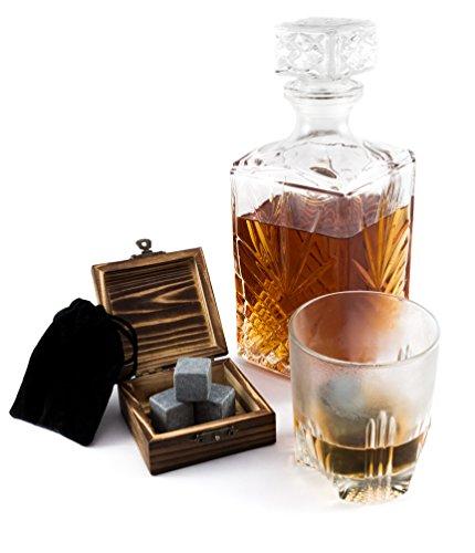 Whisky Steine von Rusty Wood, 6 wiederverwendbare Eiswürfel aus Stein mit hygienischem Samtsäckchen, mit rustikalem Holzkästchen perfekt als Geschenk - reusable Whiskey Rocks