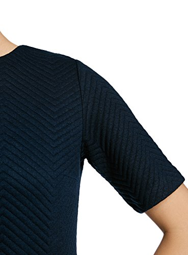 oodji Collection Femme Robe Coupe Droite en Tissu Texturé Bleu (7900N)