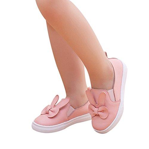 M盲dchen Casual Rosa mit Kaninchen wei脽e Rosa weichen Schuhe Sohlen faul Schuhe Lederschuhe Prinzessin PPd8qr