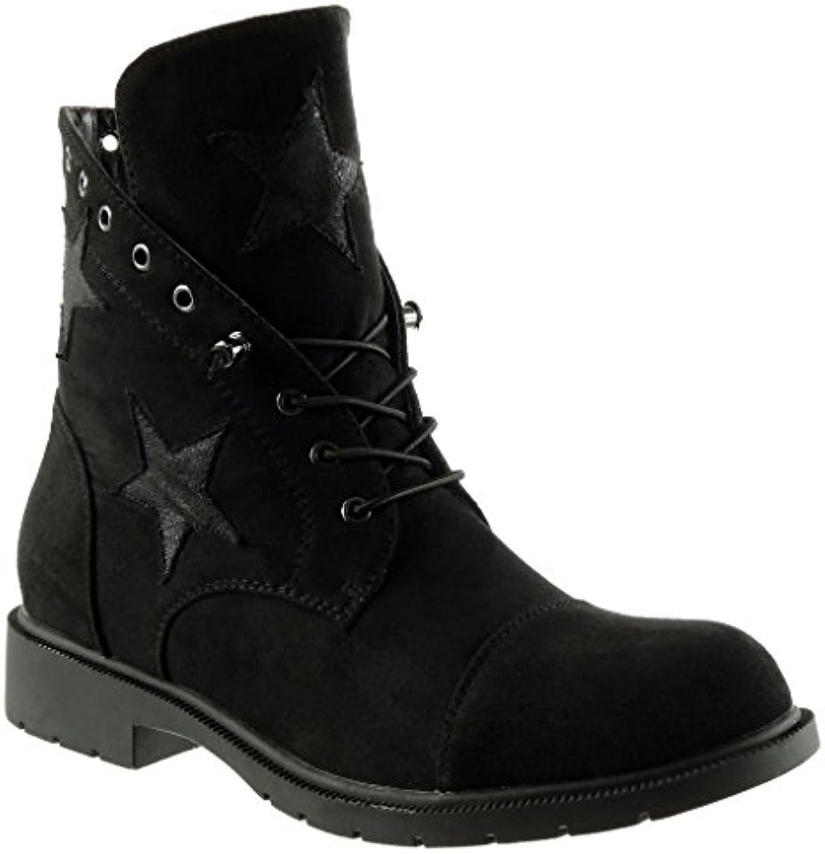 Angkorly - damen Schuhe Stiefeletten - Desert Boots - Biker - Combat Boots - Stern Blockabsatz 3 CM