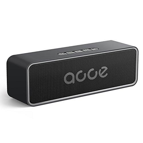 Enceinte Bluetooth 5.0 Portable, AOOE Haut-Parleur HD Stéréo sans Fil, Portée Bluetooth de 20m, Dual-Driver de 10W, 20 Heures d'Autonomie, Carte TF USB 3.5mm AUX (Gris)