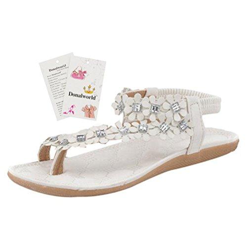Delle Sandali E Basse Donalworld Ragazze Donne Sandali Scarpe Svegli Con Perle Di Spiaggia Per Boemia Le Fiori Rotto Bianca qwSFOqB