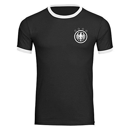 T-Shirt Deutschland Adler Retro Trikot Herren schwarz/weiß Gr. S - 3XL - Fanshirt Fanartikel Fanshop Fußball WM EM Germany,Größe:XXL