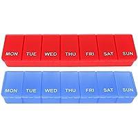 com-four® 2X Medikamenten-Box auf ENGLISCH in blau und rot, Medikamentendosierer für 7 Tage [ENGLISCH] (rot +... preisvergleich bei billige-tabletten.eu