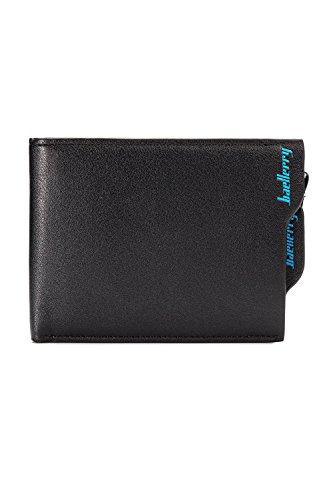 Dazosue Mens Wallets Id Window Card Case Cremallera Monedero Billetera De Cuero Black2 One Size