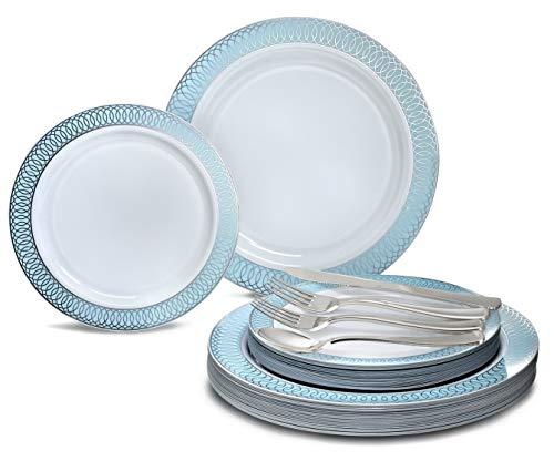 Occasions 150 Stück / 25 Gast Hochzeit Einweg-Geschirr Set - Kunststoff-Teller und Besteck für 25 Personen (25 x 10 '' Platten + 25 x 7 '' Platten) in Venedig Blau/Silber - Kunststoff-platten Hochzeit