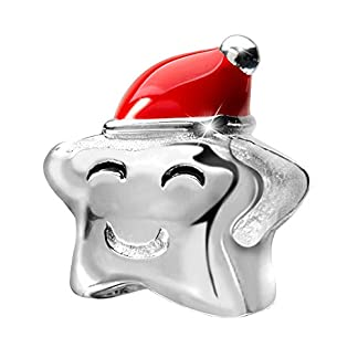 MATERIA 925Plata Beads colgante estrella con gorro de Papá Noel Rojo–Navidad Joyas Charm para pulsera 1135
