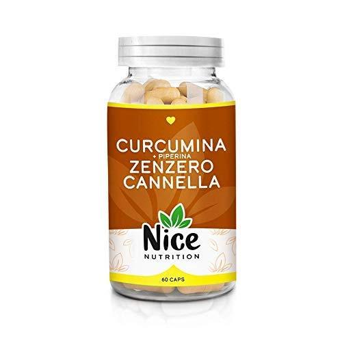 Curcuma curcumina piperina zenzero cannella-Integratore Nice Nutrition-Bruciagrassi-Riduce la fame-Detox-Antiossidante-Ipoglicemizzante-Antinfiammatorio-60 caps-Italy