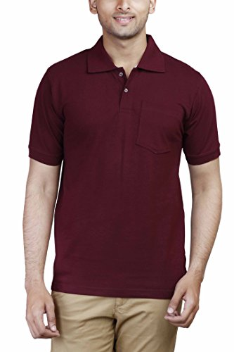 FLEXIMAA Men's Cotton Polo Collar T-Shirt with Pocket Maroon Color XL Size...