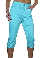 ICE (1510-7) Pantacourt en Jeans Extensible avec Diamante Turquoise Grande Taille