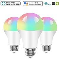 BRTLX Bombilla WiFi Inteligente E27 LED Lámpara 9W 800LM RGB Regulable Compatible Amazon Alexa y Google