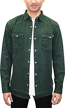 0ff35c8bac2 Southbay Men's Green Denim Full Sleeve Solid Shirt Cum Jacket ...