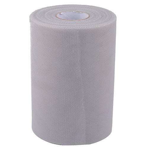 ZCHXD Polyester Family Wedding Dress Tutu Gift Decor DIY Craft Tulle Spool Roll 6 Inch x 100 Yards Light Gray -
