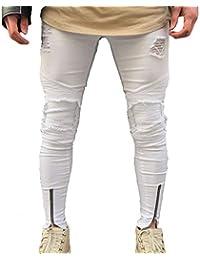 ddfc8577431a4 Jeans Pantalon en Jean pour Hommes Slim Fit Strech Skinny Vêtements Denim  Pants Hommes Trenchs pour