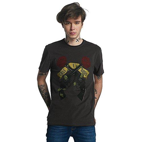 Amplified Herren Oberteile/T-Shirt Guns N Roses Shooting Roses Grau