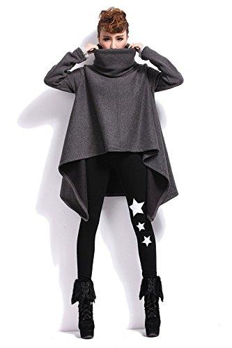 Très Chic Mailanda Damen Asymmetrisch Langarm Pullover Sweater Poncho mit Schalkragen S...