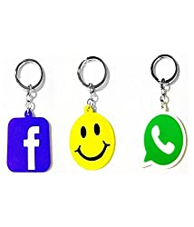 A M ENTERPRISES Facebook WhatsApp Smiley logo Key Chain Key Ring