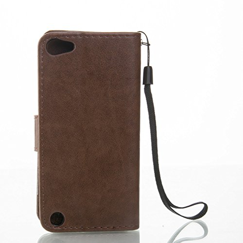 Cover per Apple iPhone 7 Custodia in Pelle,TOCASO Flip Wallet Case PU Pelle Caso per iPhone 7 Portafoglio Cover Farfalla Strap Ultra Sottile Leather Protettivo Cases Covers Shell Chiusura Magnetica Fu Coffee Brown