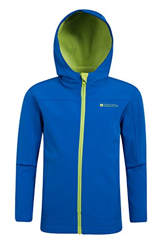 Mountain Warehouse Exodus Kids Childrens Boys Girls Softshell Hoodie Lightweight Breathable Top Blue 5-6 years