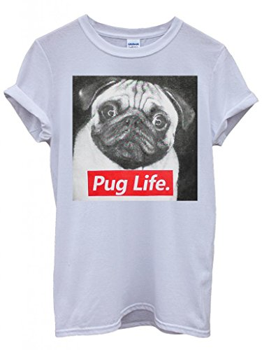 Pug Life Dog Doggie Animal Cool Funny Hipster Swag White Weiß Damen Herren Men Women Unisex Top T-Shirt -XX-Large (Dog Top T-shirt Doggy)