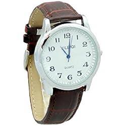 Yileiqi Men's Silver Plated Brown PU Leather Strap Watch Wrist Watch
