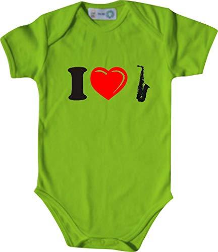 Unbekannt Lustiger Baby Body mit Druck/I Love Saxophone/Farbe: Lindgrün/Größe: 50-56 (1-2 Monate)