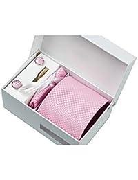 Coffret Cadeau Lisbonne - Cravate rose à motifs carrés blanc satiné, boutons de manchette, pince à cravate, pochette de costume