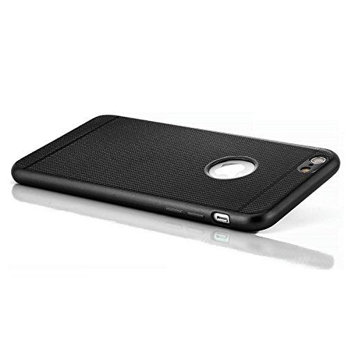 Custodia iPhone 6 / 6S Cover + Vetro Temperato 3D Silicone Piena Copertura [zanasta] Case Flessibile, Ultra Sottile Premio Flessibile e Durevole Structure Carbonio Design | Metallic Nero Nero