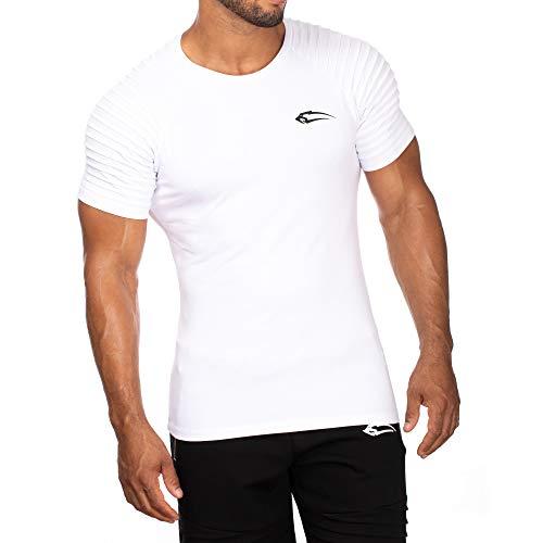 Herren T-Shirt Ripplez | Kurzarm | Casual Top | Funktionsshirt für Sport Fitness Gym & Training | Trainingsshirt - Laufshirt - Sportshirt mit Logo, Farbe:Weiß, Größe:M - Logo Slim Fit Kurz