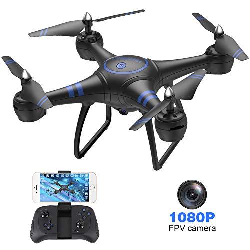 AKASO Drone avec Caméra HD 1080P LED,Quadcopter FPV WiFi RC avec Vidéo en Direct,3D VR,Mode sans...