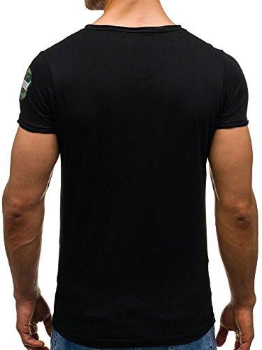 BOLF Herren T-Shirt Tee Kurzarm Slim Fit Classic Rundhals Aufdruck 3C3 Motiv Schwarz