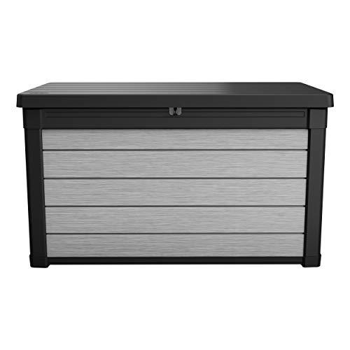 Koll Living Garden Aufbewahrungsbox, 380L, grau - Deckel mit Gasdruckfedern für leichtes Öffnen und Schließen - hochwertiger Kunststoff in Holzoptik