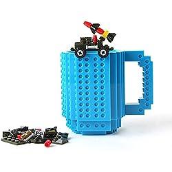 Sobre la base de la taza de ladrillo SHENNOSI 12 oz taza de café, azul