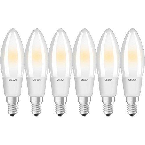 Osram LED SuperStar Classic B Lampe, in Kerzenform mit E14-Sockel, dimmbar, Ersetzt 40 Watt, Matt, Warmweiß - 2700 Kelvin, 6er-Pack -
