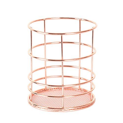 mxjeeio Metall Oval Tabelle Schreibwaren Speicher verdrahtet Raster Design Metall Stifthalter Rose Gold Ablagekorb Desktop-Finishing-Korb