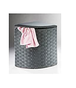 panier linge d 39 angle en nylon tabouret gris. Black Bedroom Furniture Sets. Home Design Ideas
