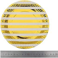 Htrdjhrjy Agraciado 10pcs / Juego Dorado Lunares Stars Vasos de Papel Desechable Vajilla Platos de Papel para Fiesta Baby Shower Fiesta Cumpleaños Suministros Vajilla en Fino Estilo (Ningún GD )
