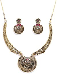 Zaveri Pearls Antique Gold Tone Finely Detailed Necklace Set For Women-ZPFK7252
