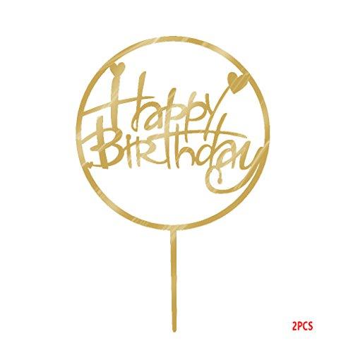 Kineca Runde Alles Gute zum Geburtstag Kuchen-Deckel Acryl Gold-Funkeln DIY Glitzer-Kuchen-Kuchen-Smash-Kerze-Partei-Handmade-Stick (Gold-kuchen-deckel)