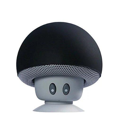 Hipipooo Mini Pilz Portable Wireless Bluetooth V2.1 Lautsprecher und Handy Support Halter mit Saugnapf Kompatibel mit iPad, iPhone, Android Handys, Laptop(Schwarz)
